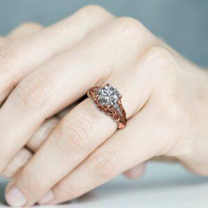 Unique Moissanite Engagement Ring 14K Rose Gold Ring Promise Ring Filigree Engagement Ring