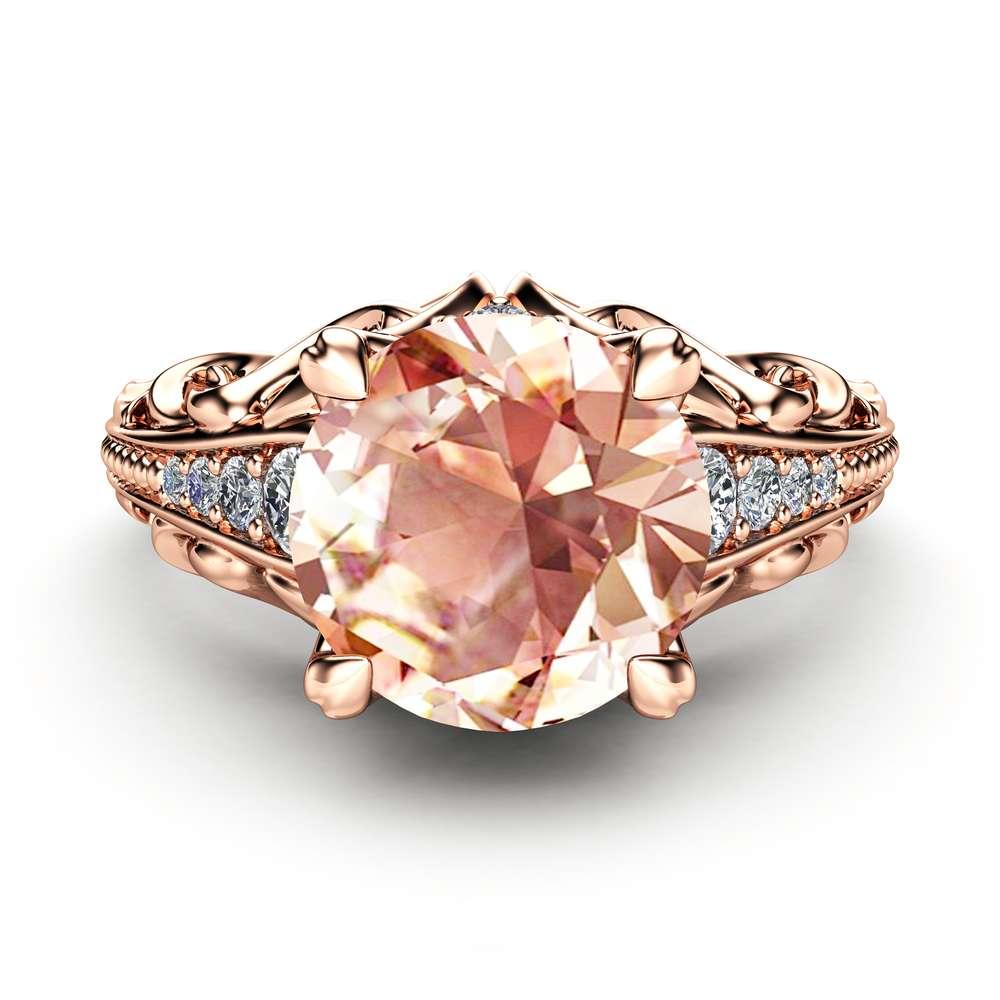 Unique Engagement Ring Morganite Engagement Ring 14K Rose Gold Ring Art Deco Ring