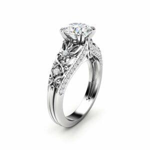 Unique Moissanite Engagement Ring 14K White Gold Ring Promise Ring Art Deco Engagement Ring
