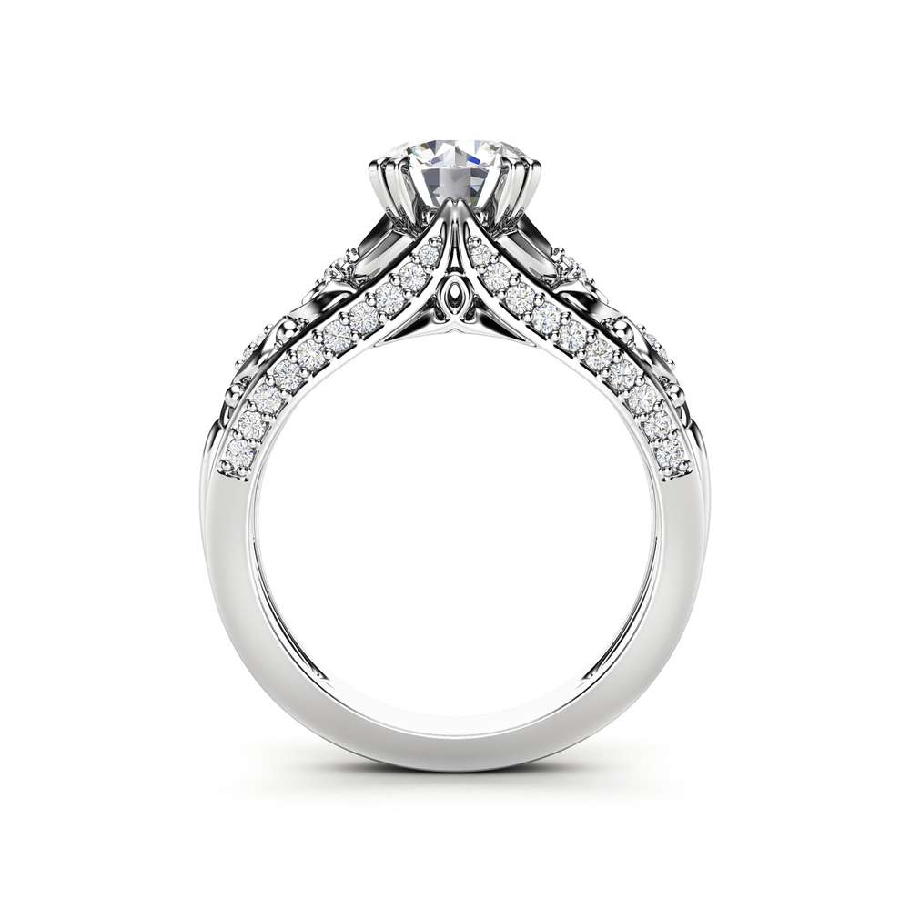 Unique Moissanite Engagement Ring 14K White Gold Ring Promise Ring Art Deco Engagement Ring
