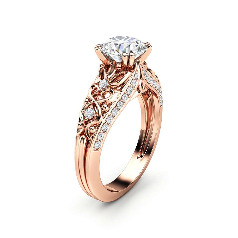 Unique Moissanite Engagement Ring 14K Rose Gold Ring Promise Ring Art Deco Engagement Ring