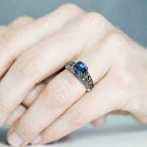 Blue Diamond Engagement Ring 14K White Gold Unique Diamonds Engagement Ring Art Deco Ring