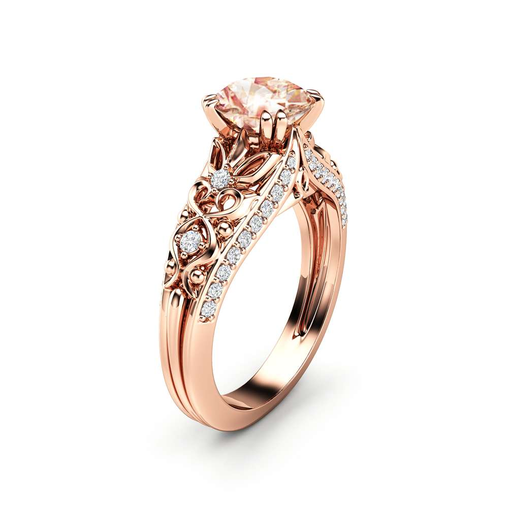 Peach Sapphire Engagement Ring 14K Rose Gold Ring Unique Promise Ring Art Deco Engagement Ring