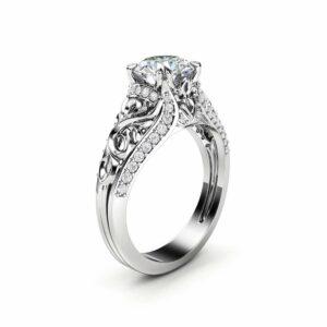 Unique Moissanite Engagement Ring 14K White Gold Ring Anniversary Ring Art Deco Engagement Ring