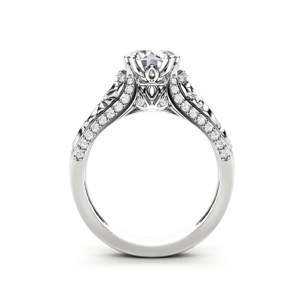 Unique Moissanite Engagement Ring 14K White Gold Ring Anniversary Ring Art Deco Engagement Ring