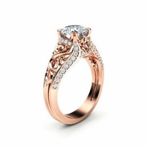 Unique Moissanite Engagement Ring 14K Rose Gold Ring Anniversary Ring Art Deco Engagement Ring