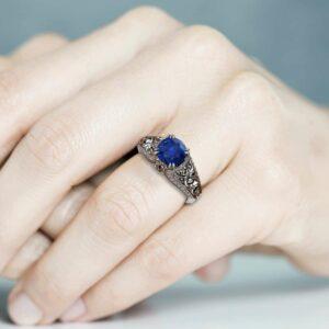 Blue Sapphire Engagement Ring 14K White Gold Ring Anniversary Ring Art Deco Engagement Ring