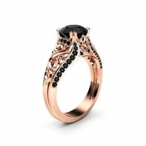 Black Diamond Engagement Ring 14K Rose Gold Ring Anniversary Ring Art Deco Engagement Ring