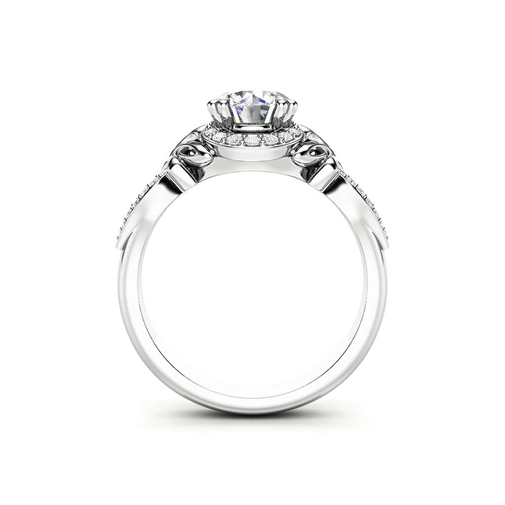Halo Moissanite Engagement Ring 14K White Gold Ring Anniversary Ring Unique Art Deco Engagement Ring