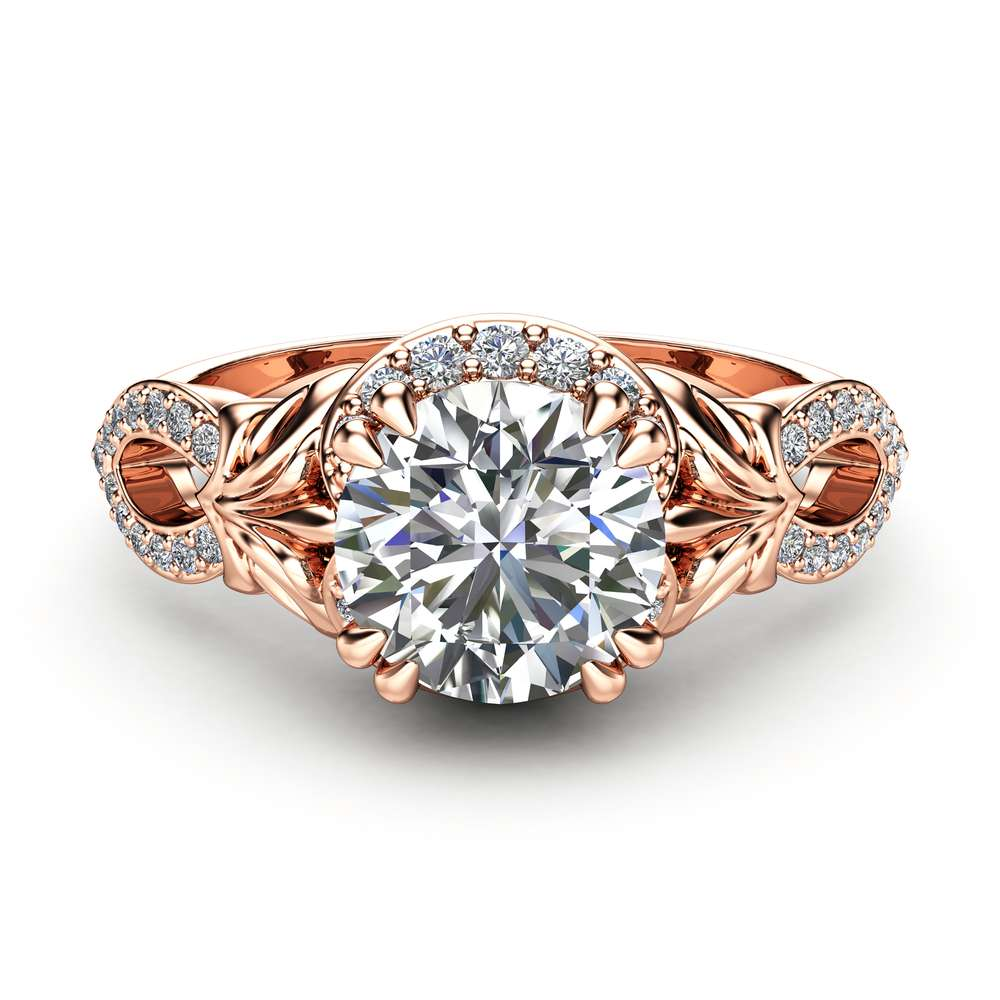Halo Moissanite Engagement Ring 14K Rose Gold Ring Anniversary Ring Unique Art Deco Engagement Ring
