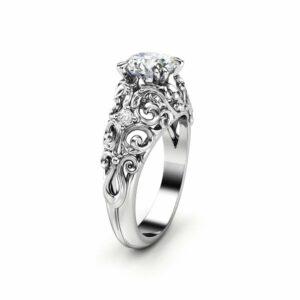 Moissanite Engagement Ring 14K White Gold Ring Unique Anniversary Ring Art Nouveau Engagement Ring