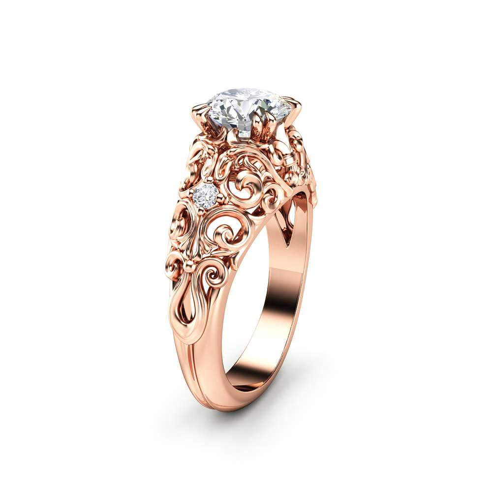 Moissanite Engagement Ring 14K Rose Gold Ring Unique Anniversary Ring Art Nouveau Engagement Ring