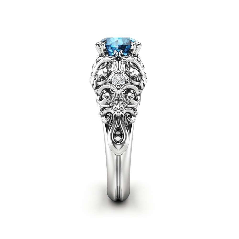 Blue Diamond Engagement Ring 14K White Gold Ring Unique Diamonds Engagement Ring