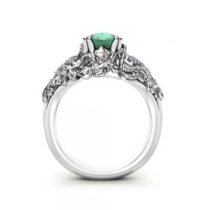Emerald Engagement Ring White Gold Ring Art Deco Engagement Ring