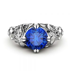 Sapphire Engagement Ring White Gold Ring Art Deco Engagement Ring