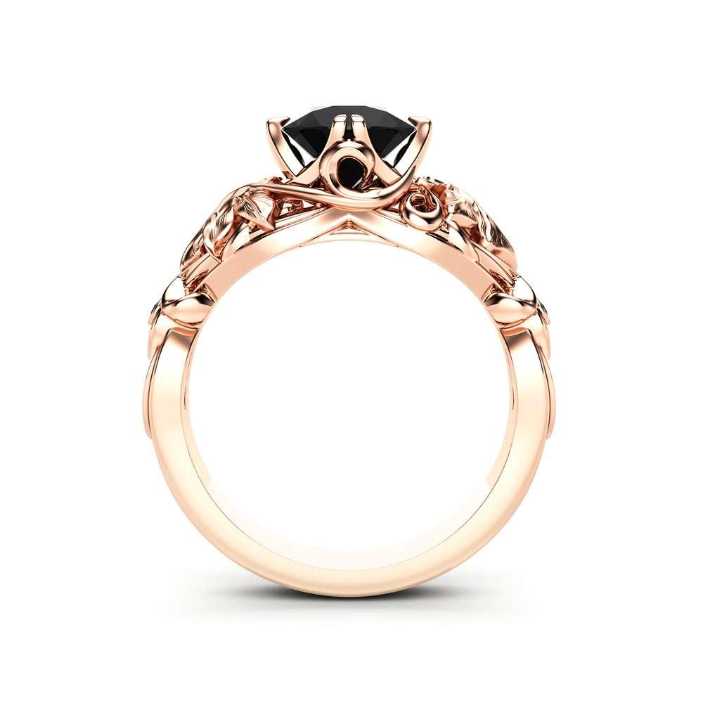 Black Diamond Engagement Ring Rose Gold Ring Art Deco Engagement Ring