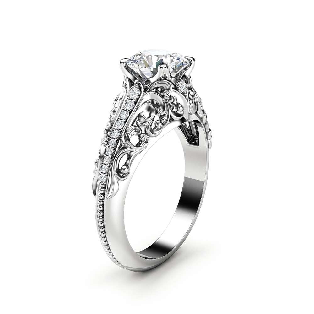 Art Deco Engagement Ring Moissanite Engagement Ring White Gold Ring