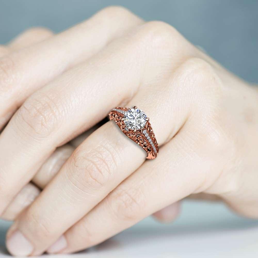 Art Deco Engagement Ring Moissanite Engagement Ring Rose Gold Ring