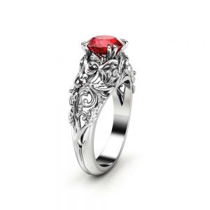 Unique Ruby Engagement Ring 14K White Gold Ring Ruby Anniversary Ring Filigree Engagement Ring