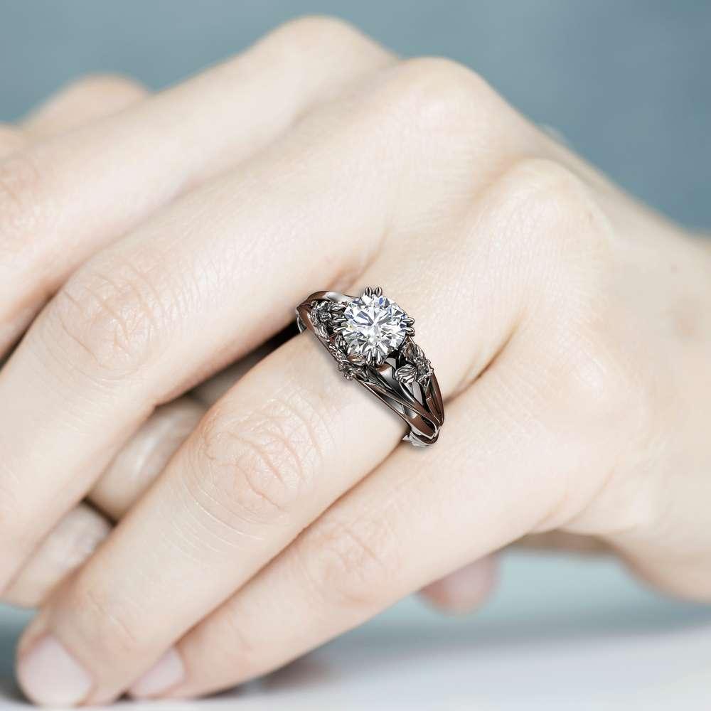 Flower Engagement Ring Moissanite Ring 14K White Gold Anniversary Ring Unique Engagement Ring