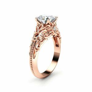 Unique Moissanite Engagement Ring 14K Rose Gold Ring Filigree Anniversary Ring Milgrain Engagement Ring