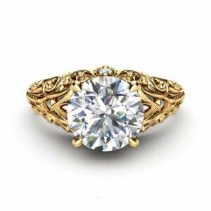 Unique Moissanite Engagement Ring 14K Yellow Gold Ring Filigree Anniversary Ring Milgrain Engagement Ring