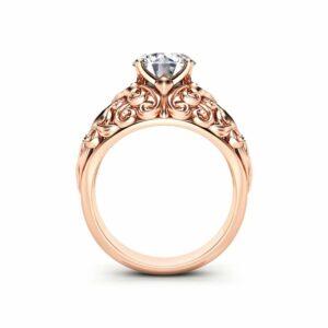 Moissanite Engagement Ring 14K Rose Gold Ring Filigree Anniversary Ring Unique Engagement Ring
