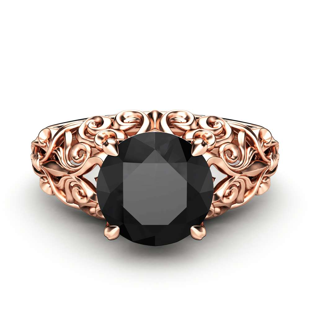 Black Diamond Engagement Ring 14K Rose Gold Solitaire Ring Filigree Anniversary Ring Unique Engagement Ring