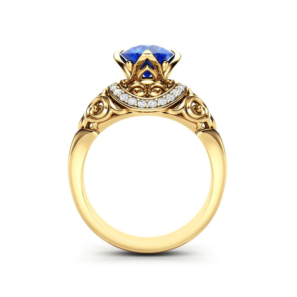 Vintage Engagement Ring 14K Yellow Gold Ring Sapphire Engagement Ring