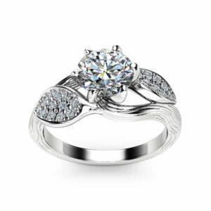 Moissanite Leaf Engagement Ring 14K White Gold Engagement Ring Branch and Leaf Moissanite Ring