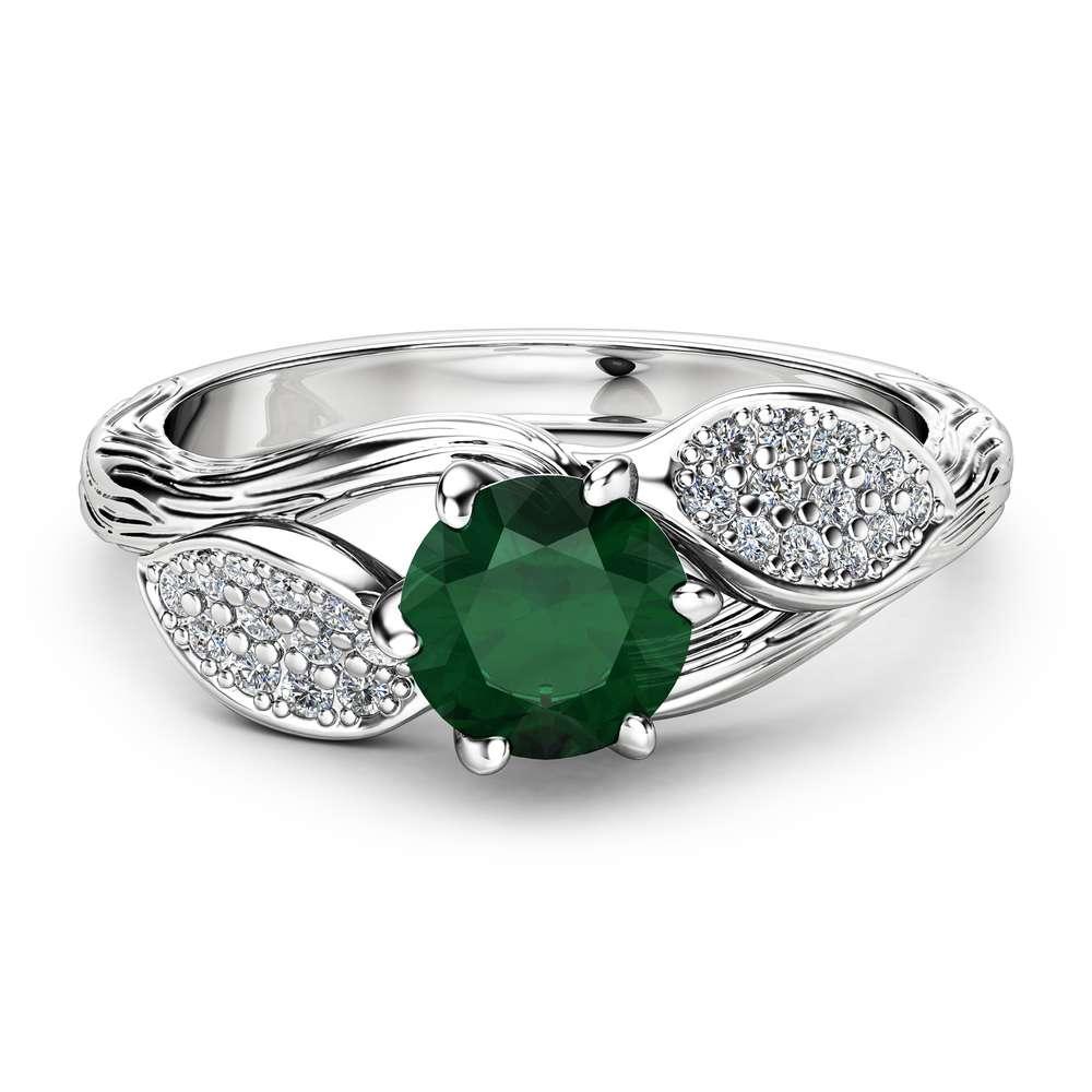 Emerald Leaf Engagement Ring 14K White Gold Engagement Ring Branch and Leaf Emerald Ring