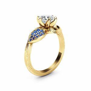 Moissanite Leaf Engagement Ring 14K Yellow Gold Engagement Ring Branch and Leaf Moissanite Ring with Sapphires