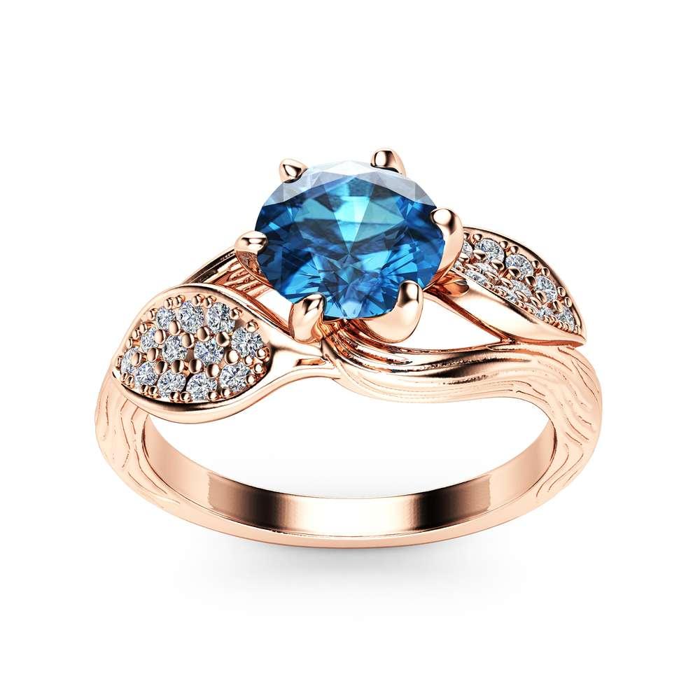 Blue Diamond Leaf Engagement Ring 14K Rose Gold Engagement Ring Branch and Leaf Diamond Ring