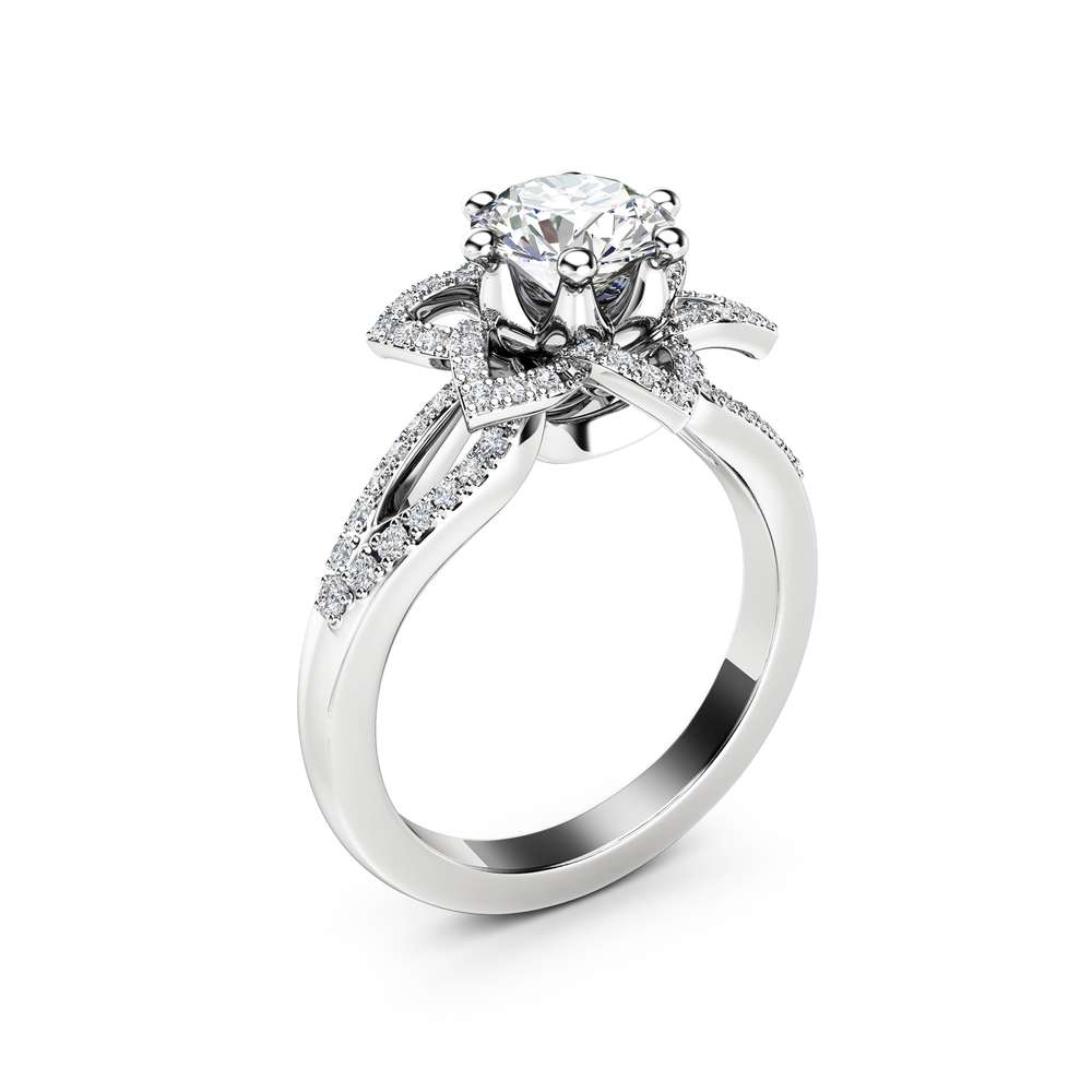 Floral Moissanite Engagement Ring  14K White Gold Moissanite Ring with Diamonds Half Eternity Engagement Ring