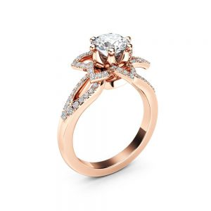 14K Rose Gold Moissanite Ring with Diamonds Floral Moissanite Engagement Ring   Half Eternity Engagement Ring