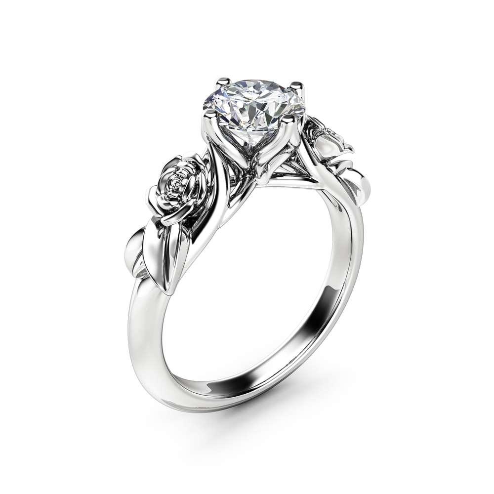 Rose and Leaf Moissanite Engagement Ring 14K White Gold Solitaire Ring Rose and Leaf Engagement Ring