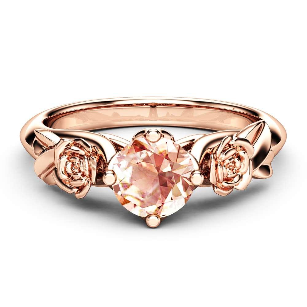 Rose and Leaf Morganite Engagement Ring 14K Rose Gold Solitaire Ring Rose and Leaf Engagement Ring