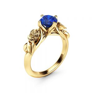 Rose and Leaf Sapphire Engagement Ring 14K Yellow Gold Solitaire Ring Rose and Leaf Engagement Ring