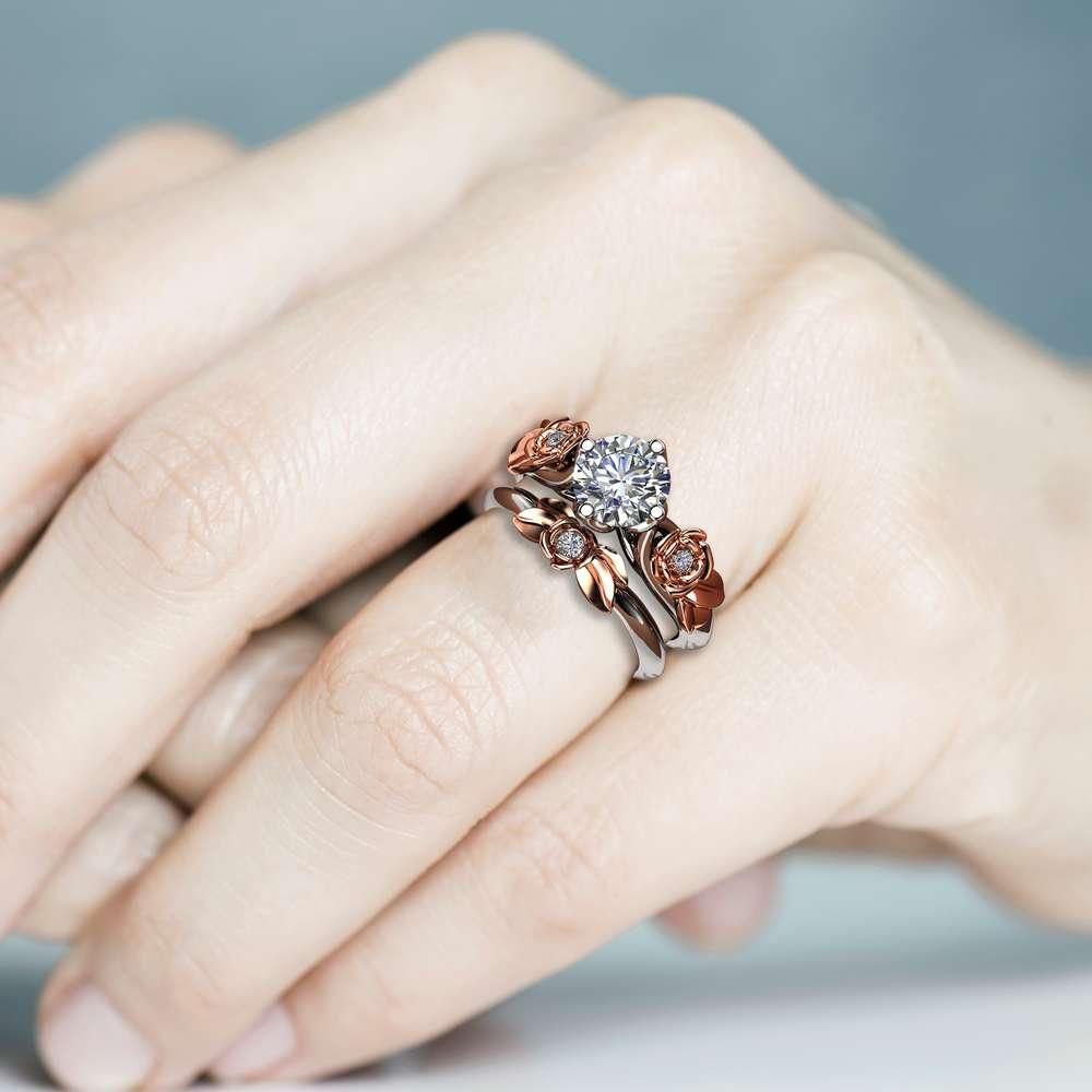 Engagement Ring Set White Gold Ring Rose Engagement Ring Moissanite Gold Ring