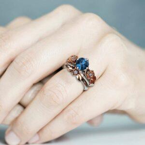 Floral Engagement Ring Unique Bridal Set Blue Topaz Engagement Ring