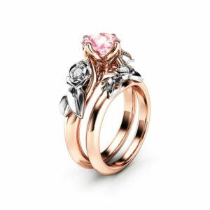 Rose Engagement Ring Set White Gold Ring Pink Moissanite Ring Flower Rose Gold Rings