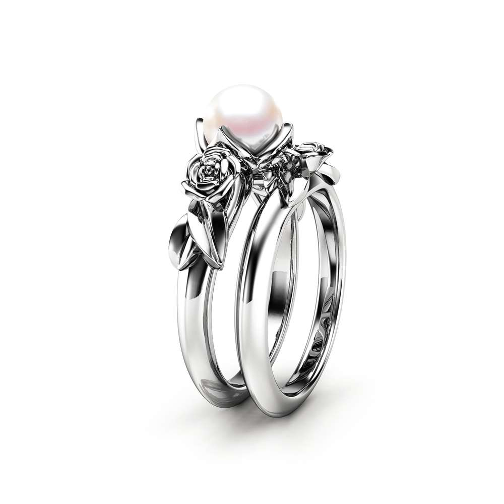 Pearl Engagement Ring Set White Gold Rings Rose Engagement Ring Pearl Gold Ring