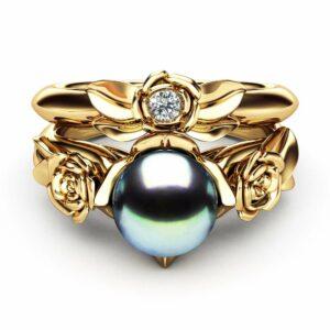 Black Pearl Engagement Ring Set Rose Engagement Ring Pearl Gold Ring