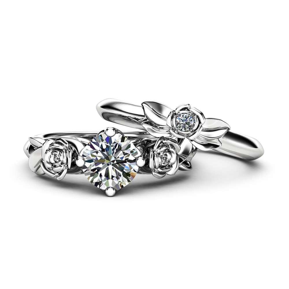 Moissanite Engagement Ring Set 14K White Gold Matching Rings Flower Roses Engagement Ring