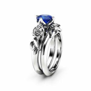 Unique 14K White Gold Blue Sapphire Ring Set / Blue Sapphire Flower Ring for Women / Floral Gemstone Engagement Ring Set / Bridal Ring Set