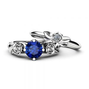 Unique 14K White Gold Blue Sapphire Ring Set / Blue Sapphire Flower Ring for Women / Floral Gemstone Engagement Ring Set / Bridal Ring Set