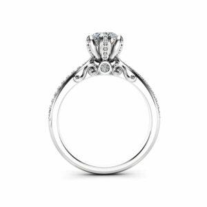 Natural Diamond Pave Engagement Ring 14K White Gold Engagement Ring Diamond Petal Ring Choose Your Diamond