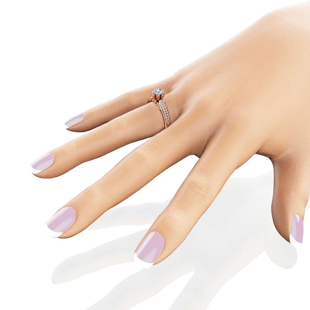 Natural Diamond Pave Engagement Ring 14K Rose Gold Engagement Ring Diamond Petal Ring Choose Your Diamond