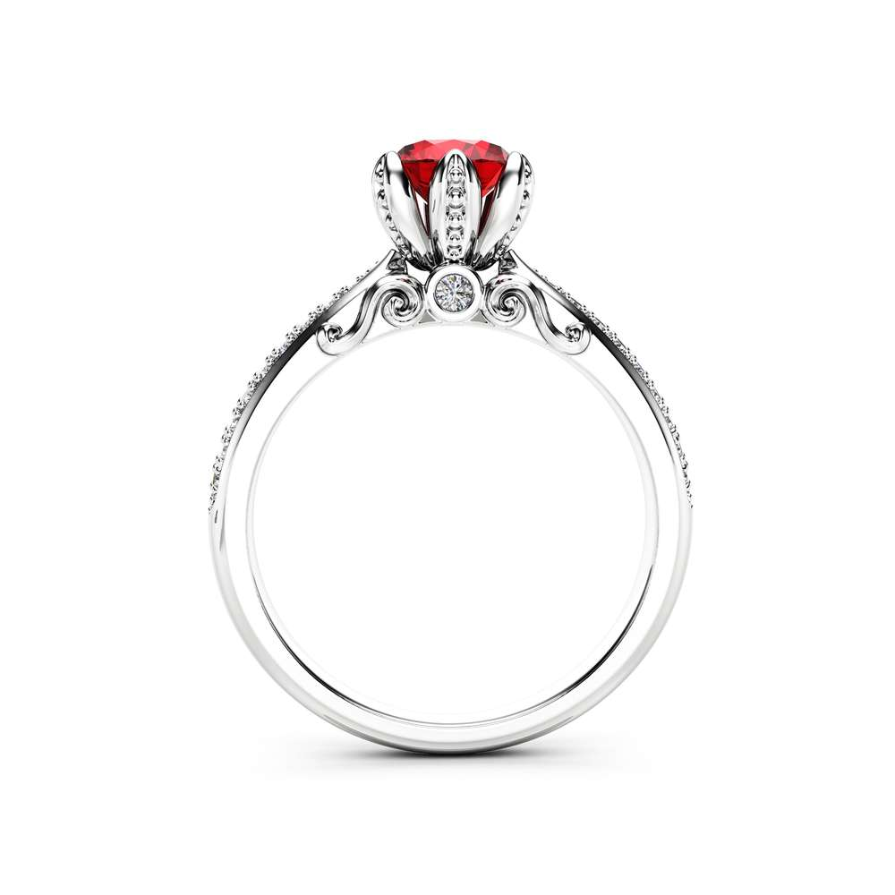 Natural Ruby Pave Engagement Ring 14K White Gold Engagement Ring Ruby Petal Ring