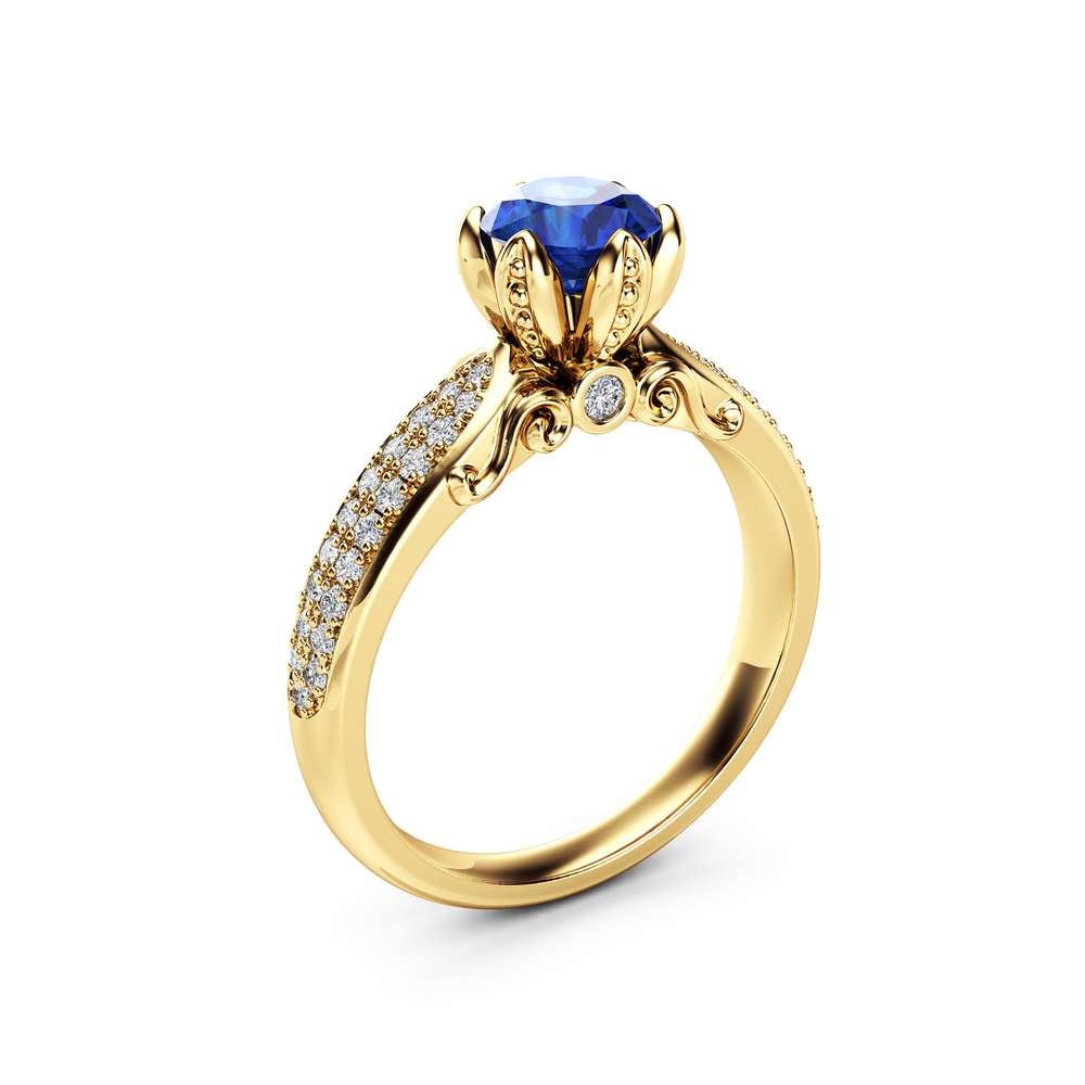 Natural Sapphire Pave Engagement Ring 14K Yellow Gold Engagement Ring  Sapphire  Petal Ring